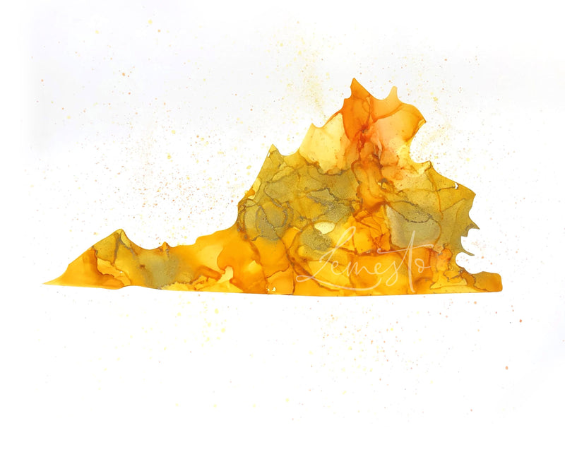 Virginia Alcohol Ink Print