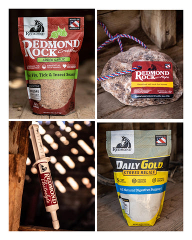 Redmond Rock Crushed with Garlic, Redmond Rock on a Rope, Redmond Electrolyte Paste, and Redmond Daily Gold