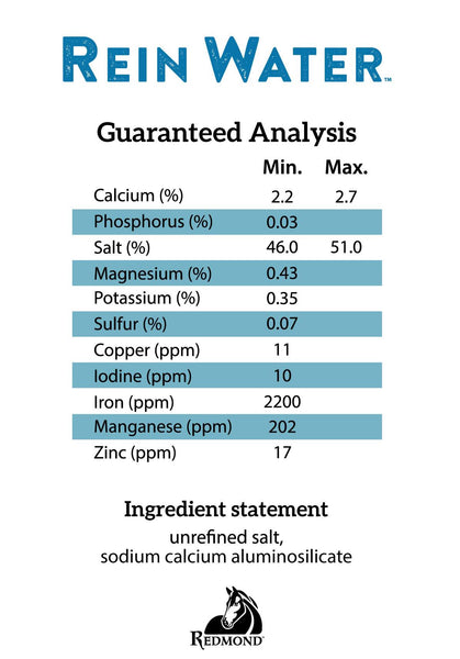 Guaranteed Analysis - Calcium 2.2% - 2.7%, Phosphorous .03% min, Salt 46% - 51%, Magnesium .43%, Potassium .35%, Sulfur .07%, Copper 11 ppm, Iodine 10 ppm, Iron 2200 ppm, Manganese 202 ppm, Zinc 17 ppm Ingredients: Unrefined Salt, Sodium Calcium Aluminosilicate