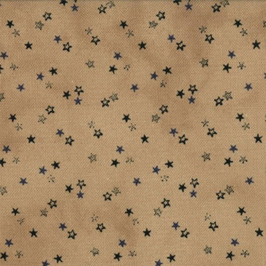 1084-11  Little Tossed Stars - Paper Bag (Tan) w/Dk. Navy