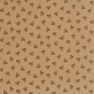 1116-16  Homestead Gatherings Dainty Flower Chestnut on a Tan Background