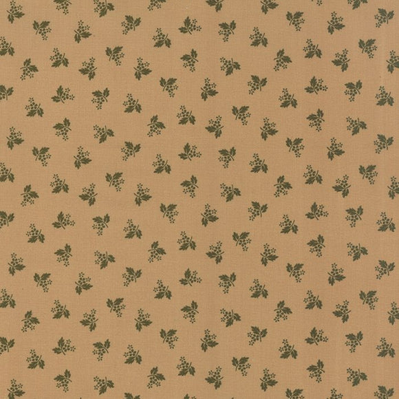 1116-18  Homestead Gatherings Dainty Flower in Sage on a Tan Background
