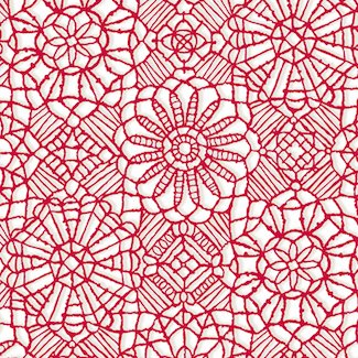 24632-ZR  Amazing Lace / Cherry Red Lace on White