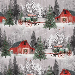 6929-86  Red barn and horse buggy in snow