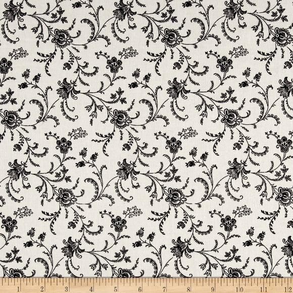 C4783 - Black Viney Floral Cameo on White