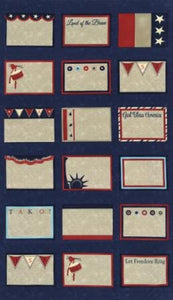 17801-12 Navy Quilt Labels - Panel 24""