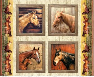 Horses Pillow Panel - PD7014 - PILLOW