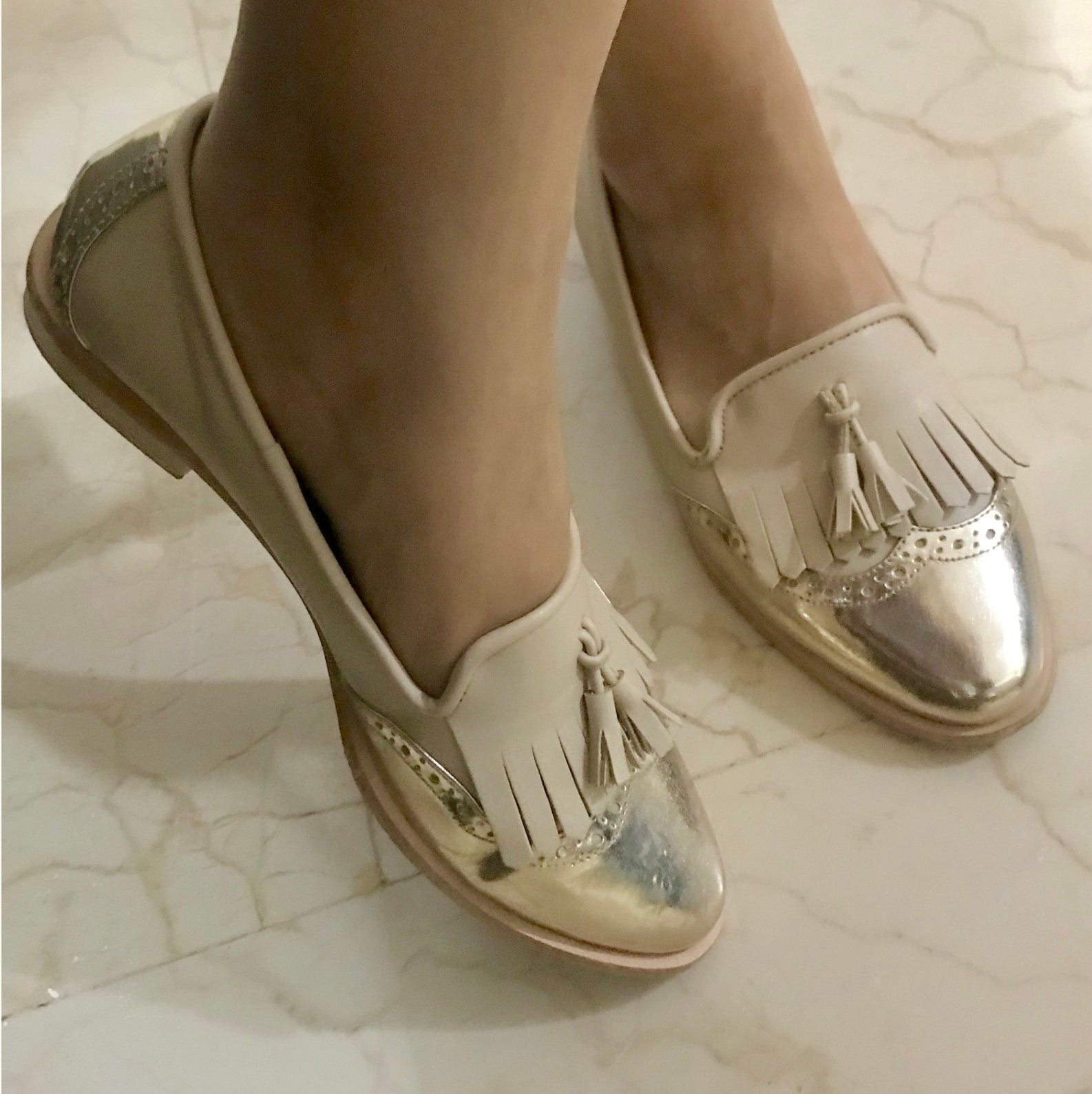 Beige Loafer Shoes with Gold Brogue - Ness