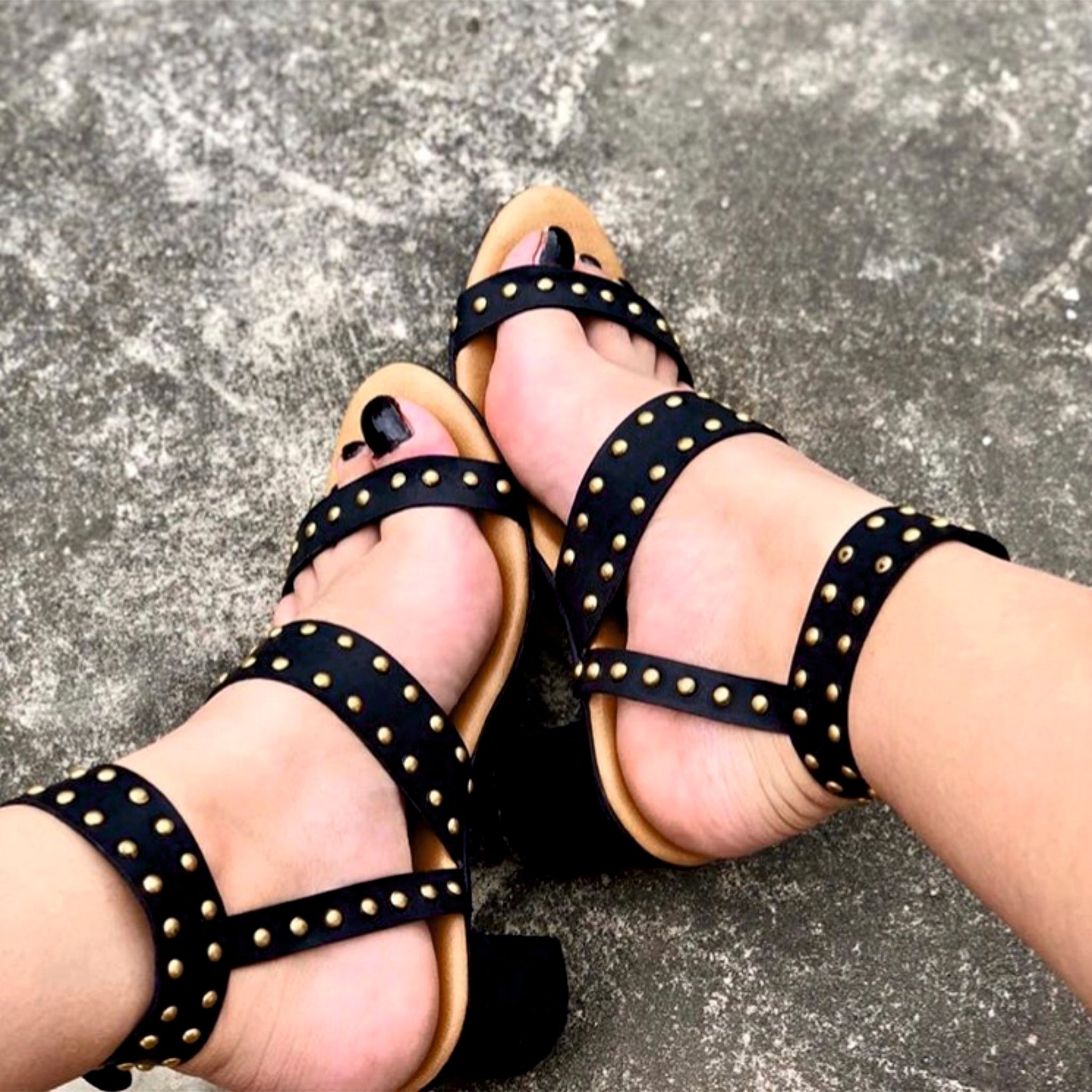Black Sandals with Gold Studs