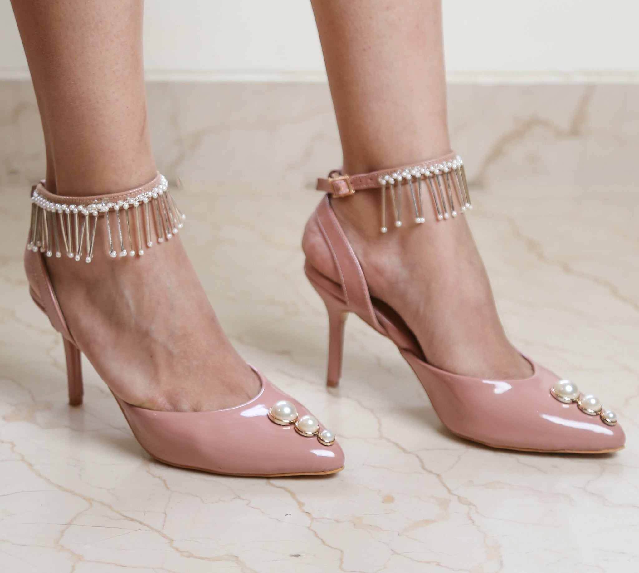 Nude Patent Heels with Pearl Embellished Anklet - Ness