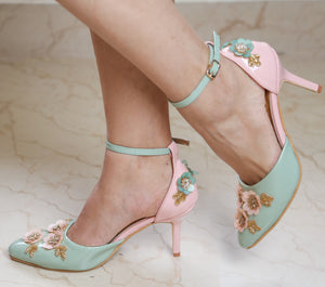 Baby Pink and Mint Green Heels with Floral Embroidery
