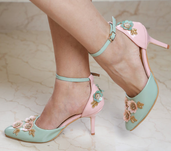 Baby Pink and Mint Green Heels with Floral Embroidery - Ness