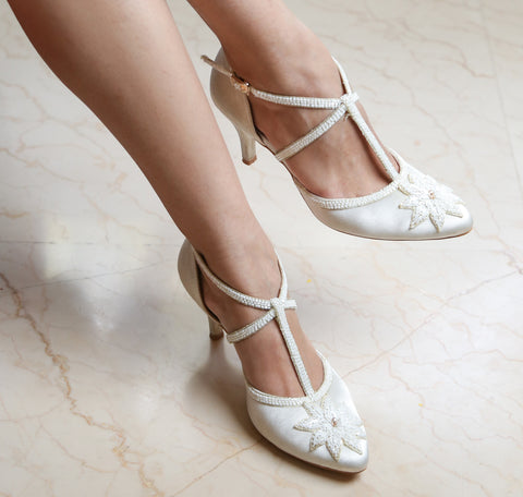White Satin Heels with Floral Embroidery and Cross Straps