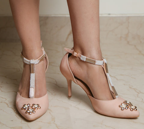Washed Nude Heels with Embroidered Straps and Flowers