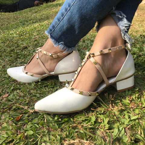 White Pyramid Block Heels - Ness