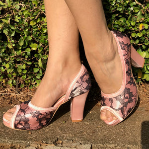 Pink & Black Lace Block heels - Ness