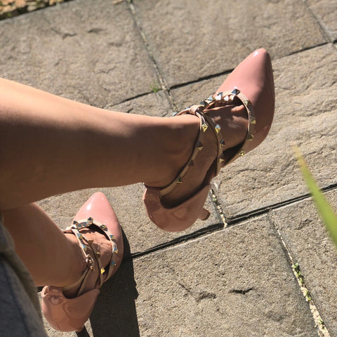 Nude Heels with Cross Strap - Ness