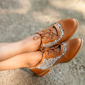 Tan Brown Oxford Shoes with White Lace - Ness