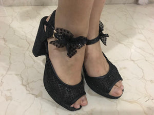 Black Lace Shimmer Heels with Bow
