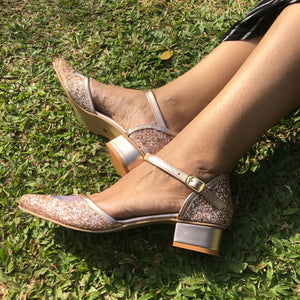 Rose Gold Shimmer Block Heels - Ness