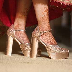 Champagne Shimmer Heels with Bow - Ness