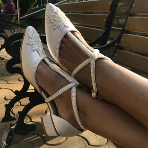 White Satin Block Heels - Ness
