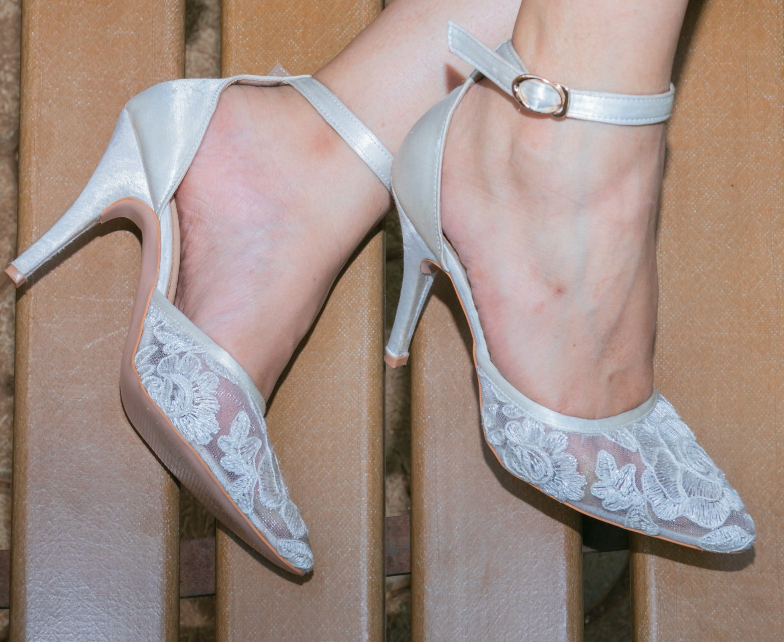 White Floral Lace Heels with Ankle Strap - Ness