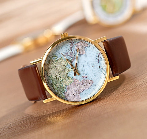 Azzurecollection beauty products bags and jewelry uk retro world map watch pu leather strap gumiabroncs Gallery