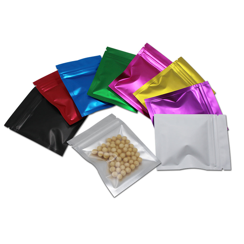 100 pcs Colorful Foil Zip lock Pouches Food Storage Zipper Bags Smell Proof Bags