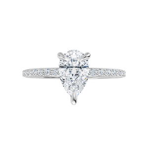 Grace - 4-prong 14 k white gold pear-cut moissanite solitaire with a lab diamond band and claw prongs