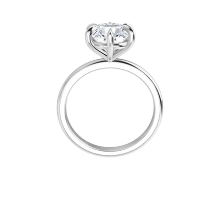 14 k white gold moissanite solitaire with six tiger claw prongs