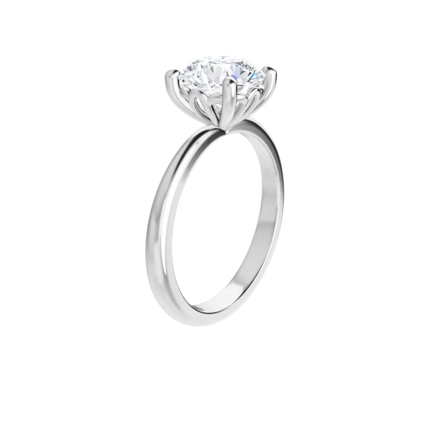 4-prong 14 k white gold round brilliant-cut moissanite ring with four round prongs and lotus inspired basket