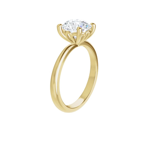 Lily -14k yellow gold round brilliant cut moissanite ring featuring a lotus inspired decorative basket