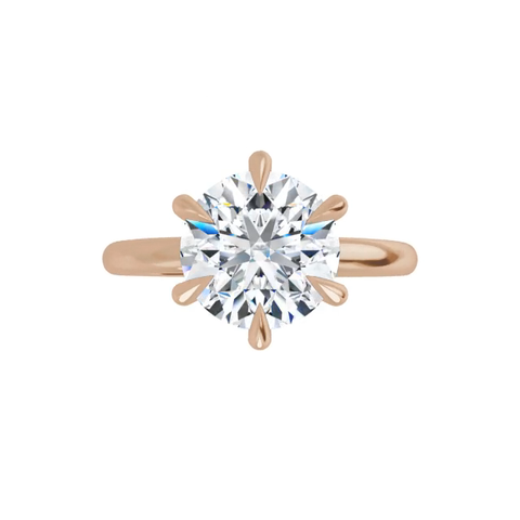 14k rose gold round brilliant cut moissanite ring with gallery and six tiger claw prongs