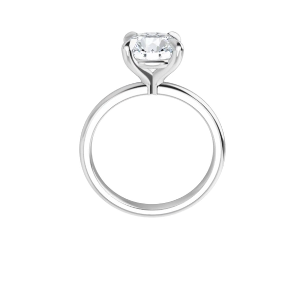 4-prong 14 k white gold round brilliant-cut moissanite solitaire with gallery and four tiger claw prongs
