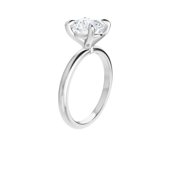 4-prong 14 k white gold round brilliant-cut moissanite solitaire with gallery and tiger claw prongs