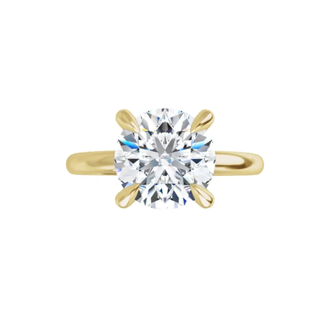 Jewel - 4-prong 14 k yellow gold round brilliant-cut moissanite ring with gallery and tiger claw prongs