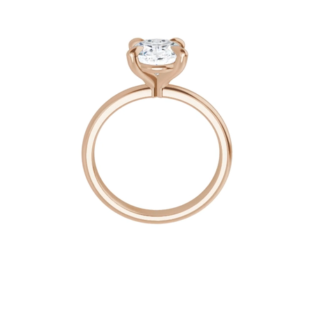 14k rose gold oval brilliant cut moissanite ring with gallery and four tiger claw prongs