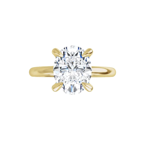 Jewel - 4-prong 14 k yellow gold oval brilliant-cut moissanite ring with gallery and tiger claw prongs