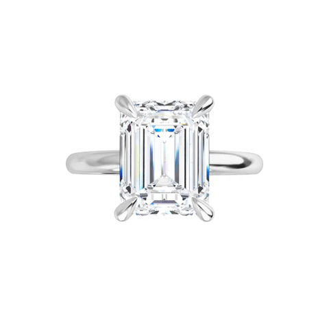 Jewel - 14K white gold emerald cut moissanite ring