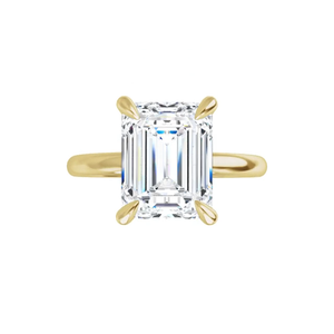 Jewel 4-prong 14K yellow gold emerald cut moissanite ring with gallery and tiger claw prongs