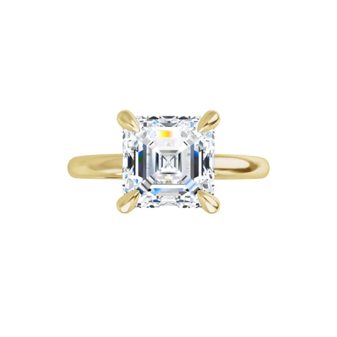 Jewel 4-prong 14K yellow gold Asscher cut moissanite ring with gallery and tiger claw prongs