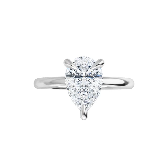 Jewel - 14K white gold pear cut moissanite ring