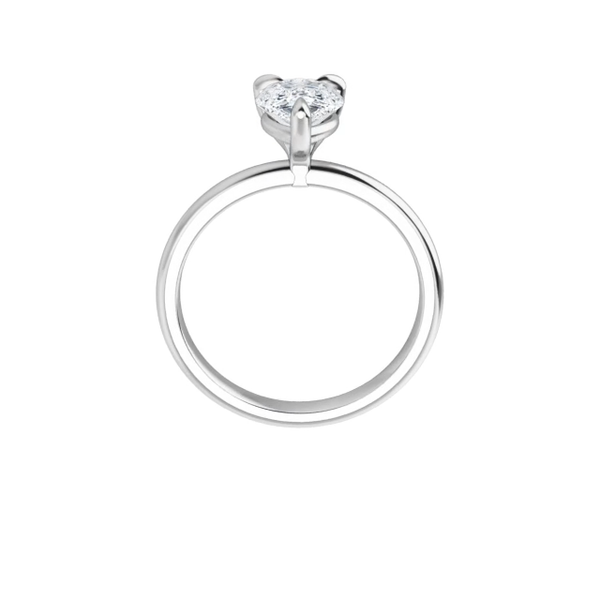 14K white gold pear cut moissanite ring
