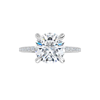 Grace - 4-prong 14 k white gold round brilliant-cut moissanite solitaire with a lab diamond band and four tiger claw prongs