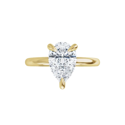 Jewel 14K yellow gold pear cut moissanite ring with gallery and  claw prongs