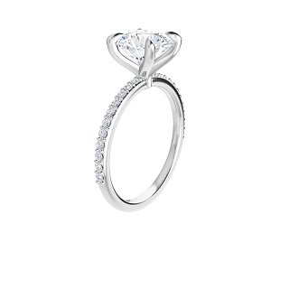 4-prong 14 k white gold round brilliant-cut moissanite solitaire with a lab diamond band and four tiger claw prongs