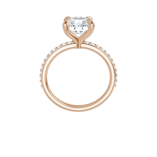 14k rose gold round brilliant cut moissanite ring with lab diamond band and four tiger claw prongs