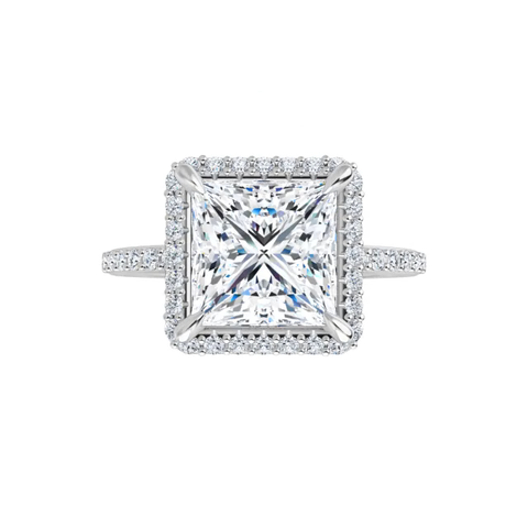 Eve - 14 k white gold lab diamond halo princess cut  moissanite ring with lab diamond band and four tiger claw prongs