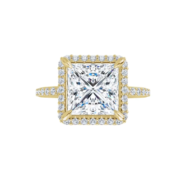 Eve - 14k yellow gold princess cut halo moissanite ring featuring lab diamond accents and claw prongs